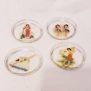 Vintage Mid-century Mod Girlie Glass Coasters